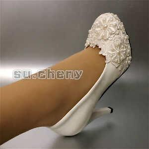 Su.cheny Weiße Spitze Perlen Flach Niedrig High Heels Hochzeit Braut Pumps Shoes