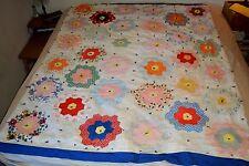 VTG Hand-sewn Quilt GRANDMOTHER'S FLOWER GARDEN Pattern EUC