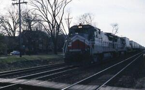 Railroad Slide - LMX #8570 GE B39-8 Diesel Locomotive Hinsdale IL 1989 Train