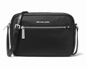 New Michael Kors Polly Large Nylon Crossbody Shoulder Bag Black NWT