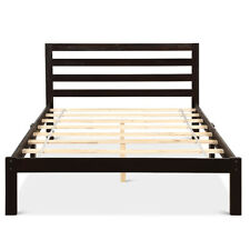 Solid Wood Platform Bed Frame Foundation Full Size Slat Support With Headboard