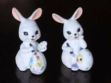 "Easter Bunny Porcelain Figurines Decorating Eggs ~ 4.5"" tall"