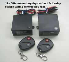 12V 30A 2 channel Momentary dry contact relay switch w/2 remote key fob Rp301M
