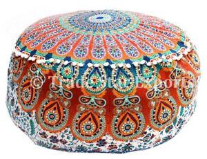 Indian Mandala ottoman Pouf Cover Round Floor Pouffe Ethnic Cotton Footstool Art