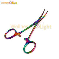 """WDL Multi Color Rainbow Mosquito Hemostat Forceps 3.5"""" Curved Stainless Steel"""
