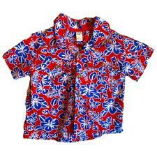 Baby Boys Tropical Hawaiian Shirt Size 18 Months Red White Blue Floral Kids Time