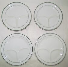 """Lot 4 Restaurant Divided 9.5"""" Plates Green Stripes,  Wellsville & Sterling China"""