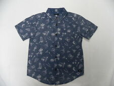 Quiksilver Boys Colorway Dark S/S Regular Fit Woven Shirt Sz Medium