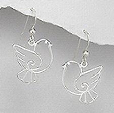 """1.18"""" Solid Sterling Silver 30mm Bird Dangle Earrings 2.9g CUTE"""