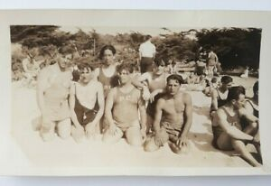 1926 Handsome Young Men at Beach Mens Swimsuit Original Photo SF Bay Area