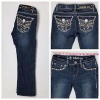 La Idol Capri Cropped Bling Pockets Distressed Jeans Juniors Size 1 24 x 21