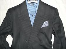 BURBERRY Men's Gray Stripe Two Button Peaked Lapel 6X2 DB 100% Wool Suit-40R 34W