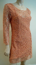 AMERICAN RETRO corail crochet dentelle Katy court mini robe de soirée Sz:36; UK8