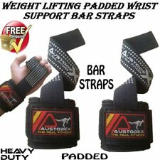 Austodex Weight Lifting Power Bar Wrist Straps wraps Bodybuilding Gym gloves