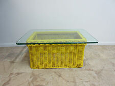 Vintage Mid Century Drexel Yellow Pop Wicker Glass Top Coffee Table Regency