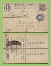 G.B.1898 Q.V 2d reg p.s env. uprated with 5d Jubilee stamp to Germany
