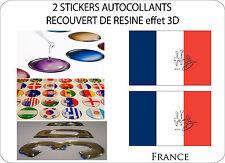 2 X STICKERS RECOUVERT DE RESINE DRAPEAU EFFET 3D 70 mm X 50 mm FRANCE