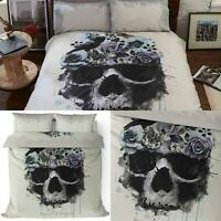 Sacred Heart Duvet Covers Grey Gothic Skull Floral Cream Quilt Cover Bedding Set
