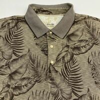 Tasso Elba Polo Shirt Men's 2XL XXL Short Sleeve Tan Brown Floral Print Casual