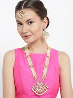 Indian Wedding White Raani Haar Necklace Earring Maang Tikka Set Fashion Jewelry