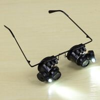 20X Glasses Type Binocular Magnifier Watch Repair Tool with Two LED Lights#^
