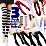 3 Women Striped Thigh High Socks Sheer Over The Knee Cotton Knit Stockings Soft