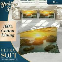 Sunset Rocky Sea Beach Orange Quilt Cover King Bed Single Double Queen Size