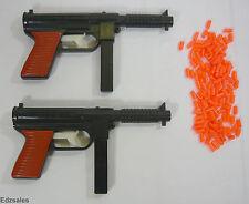 2 Vintage Machine Gun Orange Pellet Pistols Made in Hong Kong