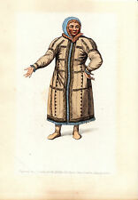 TRADITIONAL RUSSIAN COSTUMES - OSTIAK -  HAND-COLOURED COPPERPLATE (1803)