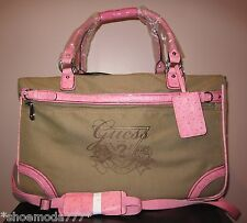 """GUESS Avignon 22"""" Rolling DuffleTravel Luggage Suitcase Bag Pink Black New"""