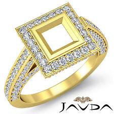 Diamond Engagement Princess Semi Mount Ring 1.25Ct Pre-Set F-G 18k Yellow Gold