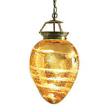 PORTFOLIO PORTUGUESE GLASS ANTIQUE GOLD LIGHT PENDANT NEW IN ORIGINAL BOX