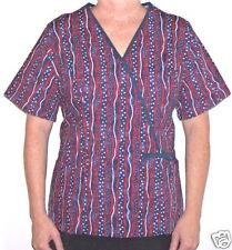 USA Stripe Mock-Wrap ScrubTop - M 100% Cotton Multi-Color Patriotic Women MAS