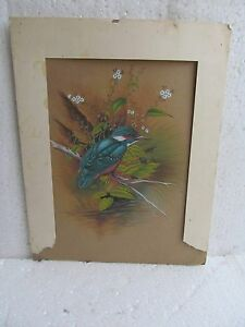 VINTAGE ORIGINAL HAND MADE WATER COLOR MINIATURE PAINTING OF ROYAL BIRD FOLK ART