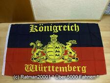 Fahnen Flagge Königreich Württemberg mit Schrift - 90 x 150 cm