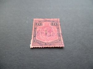 NYASALAND PROTECTOTATE - GEORGE V 1913 £1 PURPLE AND BLACK ON RED - SG 98