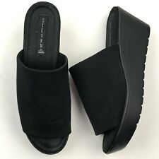 STEVEN by Steve Madden Women Black Blowout Wedge Sandal sz 9M