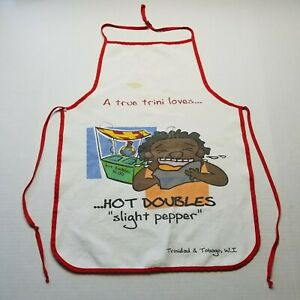 Trinidad & Tobago West Indies Apron Cooking Hot Doubles Red Chef J62