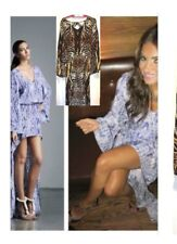 $590 Alexis Silk High Low Asymmetrical Hem Open Back Brown Dress Maxi M Print