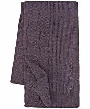 $150 Calvin Klein Men Black Ribbed Logo Unisex Muffler Warm Winter Shawl Scarf