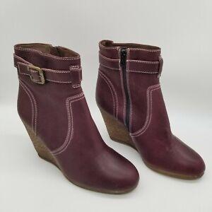 Nara Shoes Womens Zorro Burgundy Ankle Top Zipper Bootie Boots Sz US 8 EUR 38.5