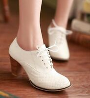 Womens Brogue Oxfords Heel Retro Mesh Leather Pumps Lace Up Court Shoes Plus Sz