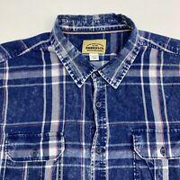 Roebuck&Co Button Up Shirt Mens XL Blue Plaid Short Sleeve Casual
