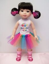 """Happy Birthday 2-pc Outfit Balloons Shirt and Rainbow Tutu Skirt for 14"""" Doll"""