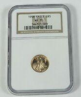 1998 $5 1/10 OZ GOLD AMERICAN EAGLE NGC MS 70