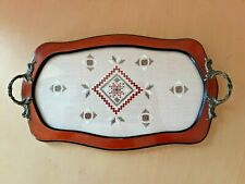 """Wooden Tray With Crochet Design. 15"""""""