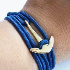 Anchor Bracelet Navy Blue Maritime Surfer Wrap-Around Multilayer