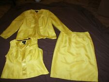 Women's Ashro 3 Piece Embellished yellow Skirt Suit - Size 16W