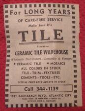 1964 Ceramic Tile Warehouse - Atlantic City New Jersey Advertisement