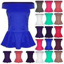 Ladies Plus Size Peplum Top Womens Frill Sleeveless Off The Shoulder Bardot Top
